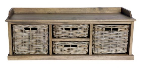 Casares Rattan Low 4 Basket Unit - Special Order